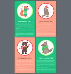 Merry christmas colorful congrat postcard animals vector