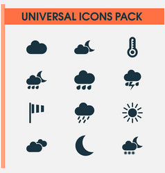 Meteorology icons set collection of sun vector