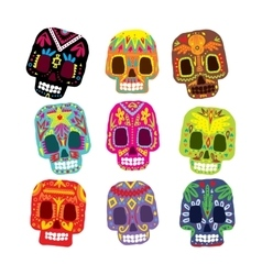 Mexico flowers skull elements vector image
