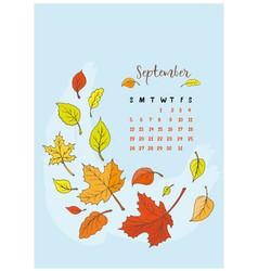 month calendar september 2018 vector image