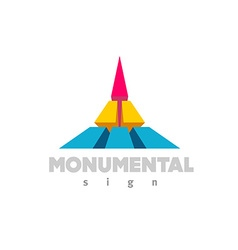 Monumental logo colorful 3d building flat color vector