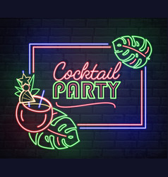 Neon sign cocktail party with tropic leaves vector