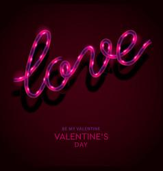 Neon sign word love on dark background vector