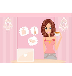 Online shopping - young smiling woman standing vector image