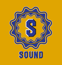 Optical illusion sound logo in round moving frame vector
