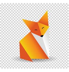 Origami fox orange foxy and white color vector