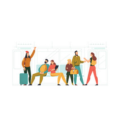 passengers in train composition vector image
