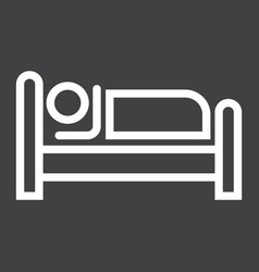 Person in bed and hotel line icon vector