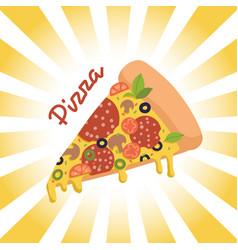 piece pizzaon retro radial background vector image