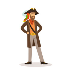 Pirate sailor character with a parrot on his vector
