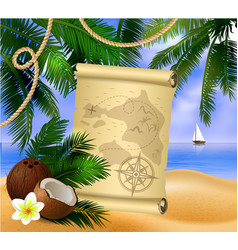 Pirate treasure map on tropical background vector