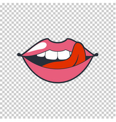 Quirky lips patch sticker isolated on a vector