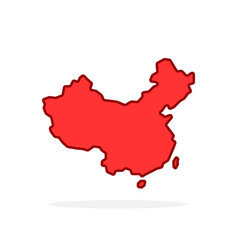 red cartoon linear china simple icon vector image
