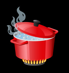 red pan saucepan pot casserole cooker stewpan vector image
