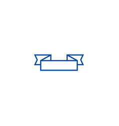 ribbon corners sign line icon concept ribbon vector image