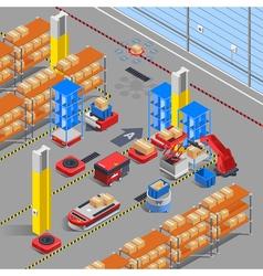 Robotic warehouse isometric background vector