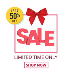 sale up to 50 off red ribbon pink gift box backgr vector image
