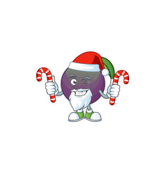 santa with candy star apple character in cartoon vector image