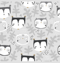 seamless childish owl pattern creative kids vector image