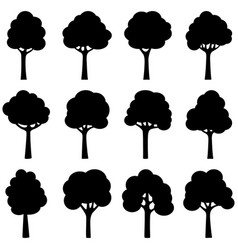 set black silhouettes trees vector image