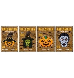 set colored halloween invitation posters vector image