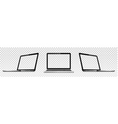 set laptop with transparent screen vector image