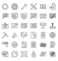 set of web development icons internet icon vector image
