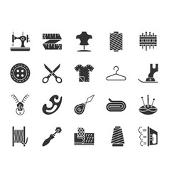 Sewing black silhouette icons set vector