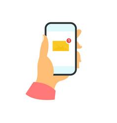 Smartphone in hand concept new message vector