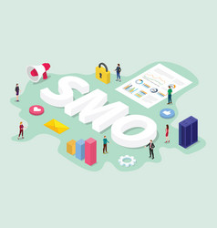 smo social media optimization concept with team vector image