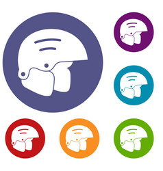 snowboard helmets icons set vector image