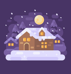 snowy purple winter village landscape with a vector image