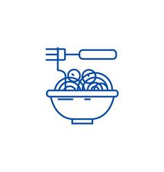 Spaghetti bolognese with meatballs line icon vector