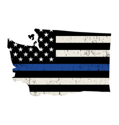 State washington police support flag vector