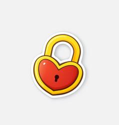 Sticker gold padlock in heart shape vector