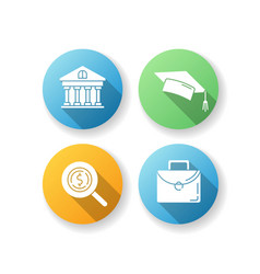 Student loan flat design long shadow glyph icons vector