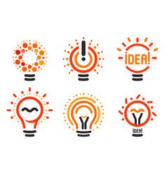 Stylized set of lightbulbs with line dots vector