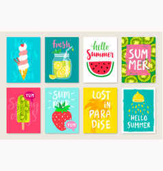 summer hand drawn calligraphyc card set with vector image