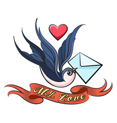 swallow with love letter tattoo vector image
