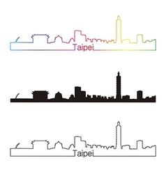 Taipei skyline linear style with rainbow vector