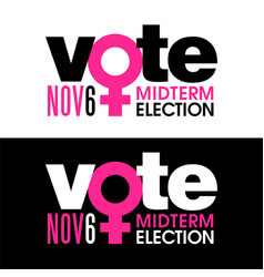 the word vote is combined with female symbol vector image