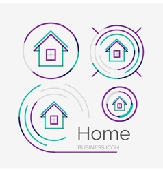 Thin line neat design logo set home idea vector image