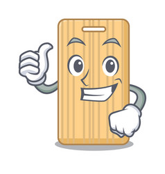 Thumbs up wooden cutting board character cartoon vector
