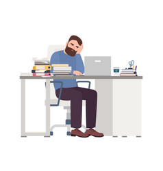 Tired male manager working on computer sad or vector