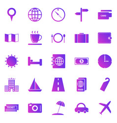 travel gradient icons on white background vector image