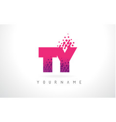 ty t y letter logo with pink purple color and vector image