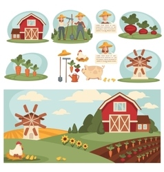 Village landscape with farm building vector