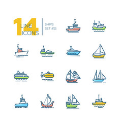 Water transport - colorful line design icons set vector