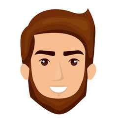 white background of smiling man face with brown vector image