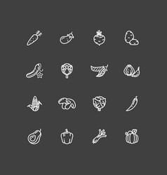 white vegetables outline icons set vector image